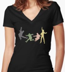 Beatles Multi Media Print Women's Fitted V-Neck T-Shirt