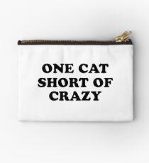 one cat short of crazy Zipper Pouch
