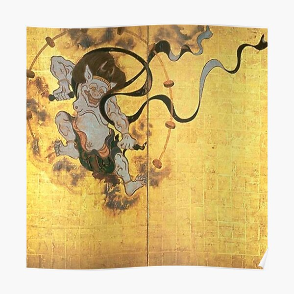 Fujin Raijin-zu (Picture of Wind and Thunder Gods), early Edo period, two panels. National Treasure, Kyoto National Museum Poster
