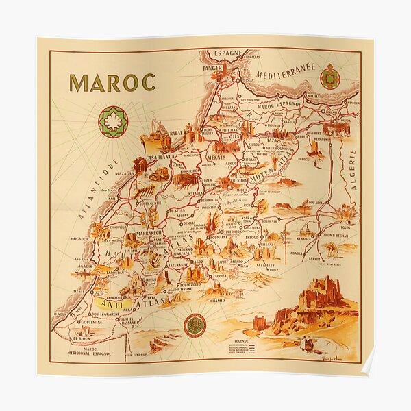 Carte du Maroc 1950 Poster