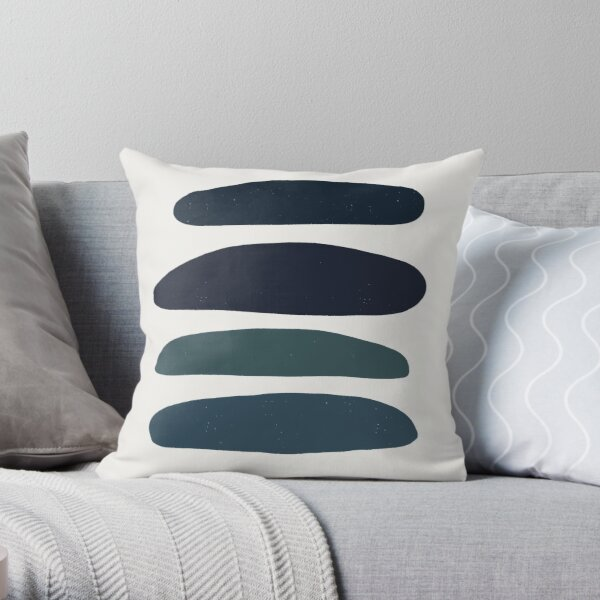 blue beach stripes by jules tillman Throw Pillow