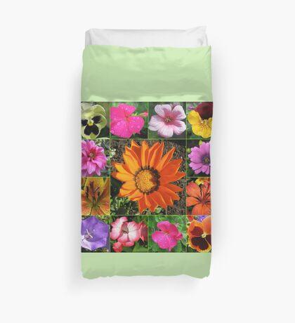 Sunlit Sommer Blumen Collage Bettbezug