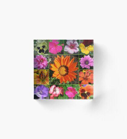 Sunlit Sommer Blumen Collage Acrylblock