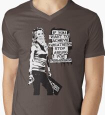 Banksy quote graffiti If You Want to Achieve Greatness stop asking for permission black and white with Banksy tag signature Men's V-Neck T-Shirt