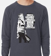 Banksy quote graffiti If You Want to Achieve Greatness stop asking for permission black and white with Banksy tag signature Lightweight Sweatshirt