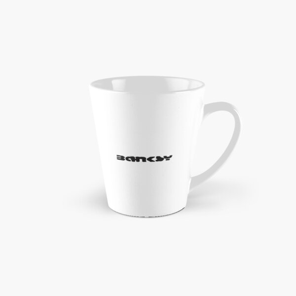 Banksy quote graffiti If You Want to Achieve Greatness stop asking for permission black and white with Banksy tag signature Tall Mug