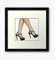 Black Stiletto High Heels - Womens Shoes Framed Print