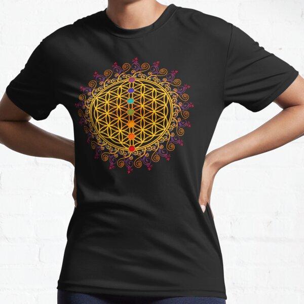 FLOWER OF LIFE, CHAKRAS, SPIRITUALITY, YOGA, ZEN,  Active T-Shirt