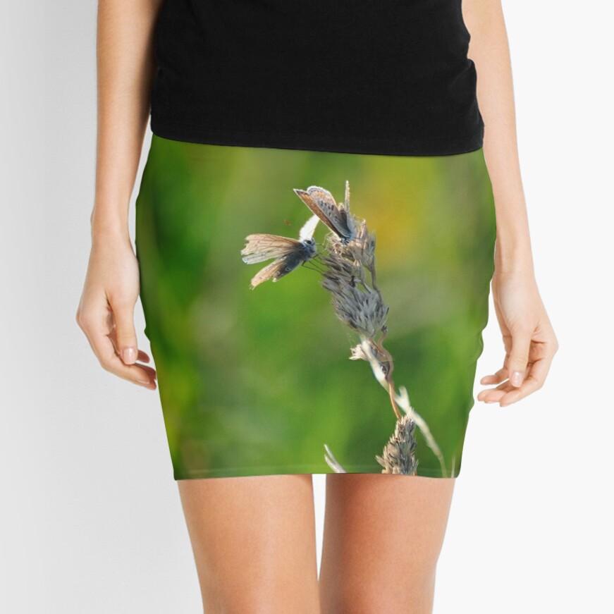 Common Blue Butterflies Mini Skirt