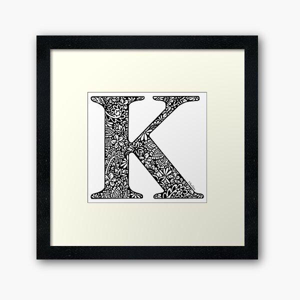 Floral Letter K - Capital Letter Framed Art Print