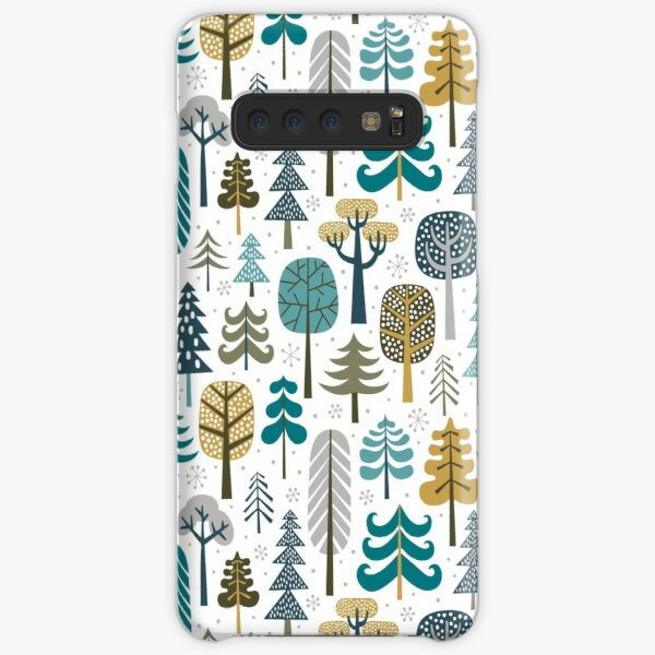 Snowy woods on white background Samsung Galaxy Snap Case