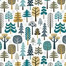 Snowy woods on white background by MirabellePrint