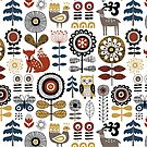 Scandinavian style drawing of flowers, woodland animals and traditional motifs by MirabellePrint
