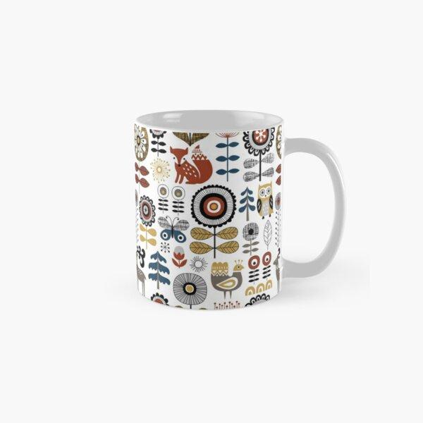 Scandinavian style drawing of flowers, woodland animals and traditional motifs Classic Mug