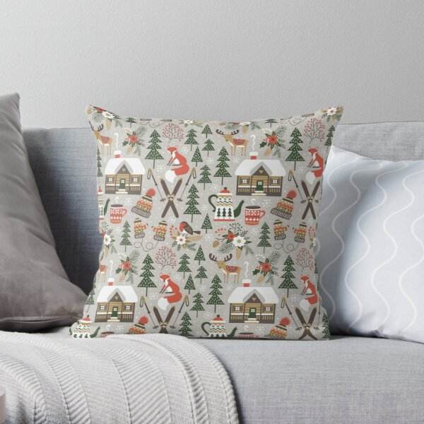 Cozy Chalet on light grey background Throw Pillow