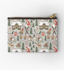 Cozy Chalet on light grey background Studio Pouch