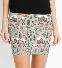 Cozy Chalet on light grey background Mini Skirt