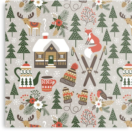 Cozy Chalet on light grey background by MirabellePrint