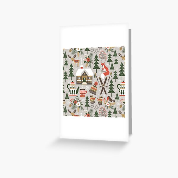 Cozy Chalet on light grey background Greeting Card