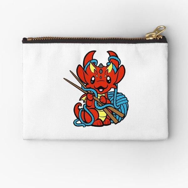 Knitting Dragon Zipper Pouch
