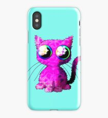 Kawaii pink curly cat iPhone Case