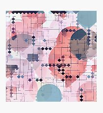 geometric square pixel pattern abstract with circle pattern background in red pink blue Photographic Print