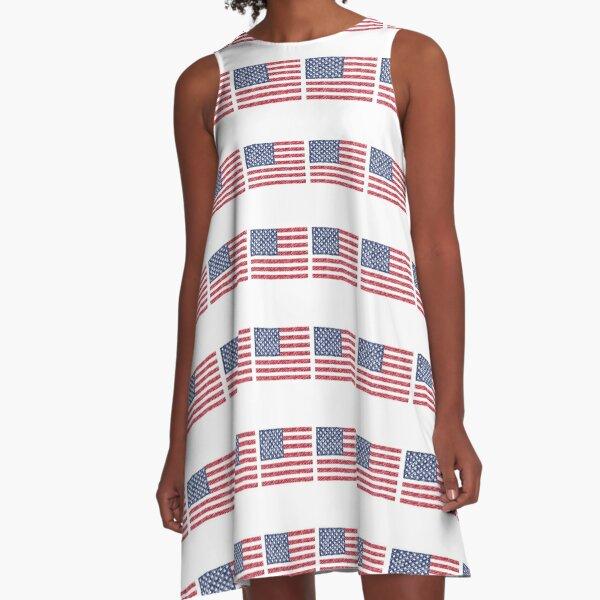 USA Flag 4th July Red White Blue Stars Stripes  A-Line Dress