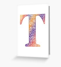 Floral Letter T - Capital Letter Sunset Greeting Card