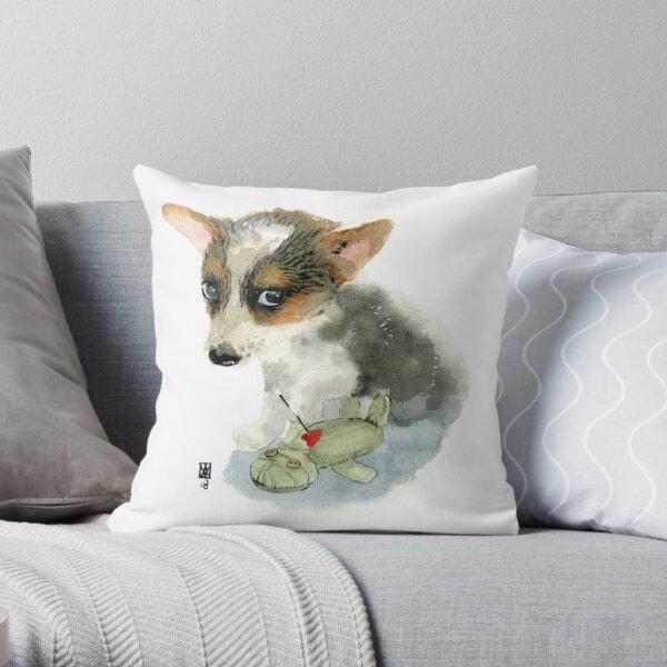 Petit chien et sa poupée vaudou Coussin