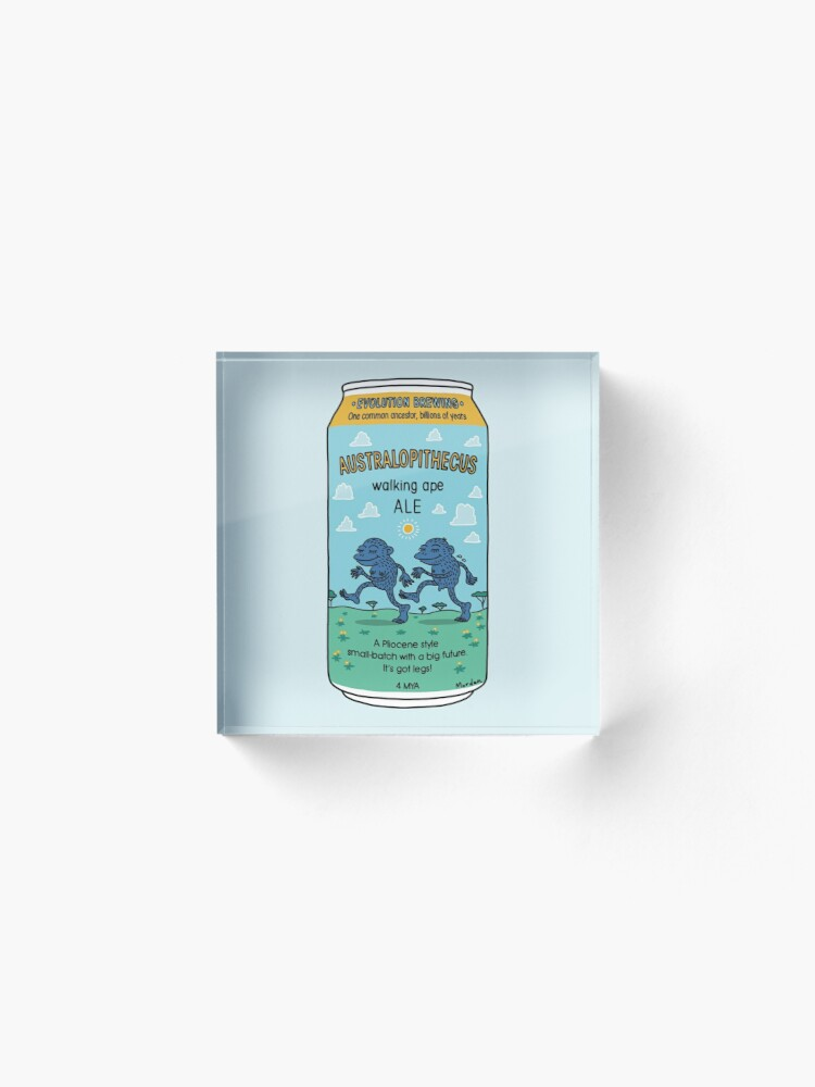 Alternate view of Evolution Brewing Australopithecus Walking Ape Ale Acrylic Block