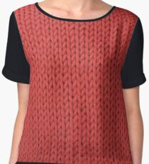 Red Knit Chiffon Top