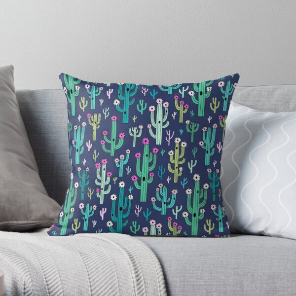 Cute blooming vector cactuses on navy background Throw Pillow
