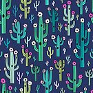 Cute blooming vector cactuses on navy background by MirabellePrint