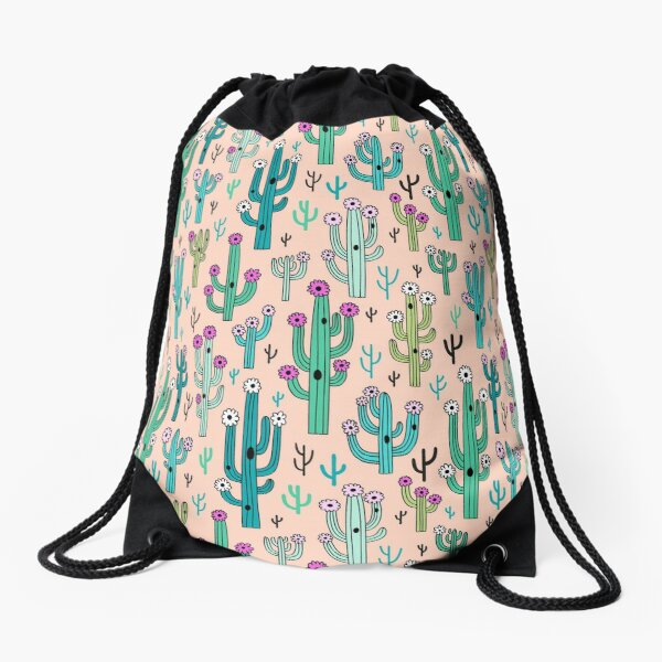 Cute blooming vector cactuses on peach background Drawstring Bag