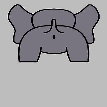 Cheeky Elephant Bottom Grey Color Vector by taiche