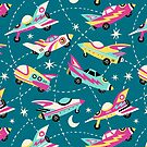 Vintage space cars on teal background by MirabellePrint