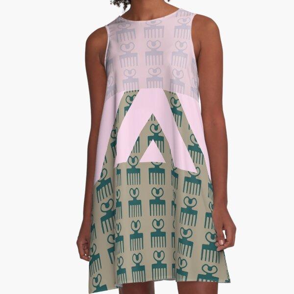 Duafe - Wooden Comb - Adinkra symbol pink touch A-Line Dress
