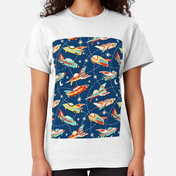 Vintage space cars on navy background Classic T-Shirt