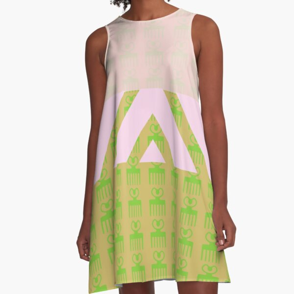 Duafe - Wooden Comb pink light green A-Line Dress