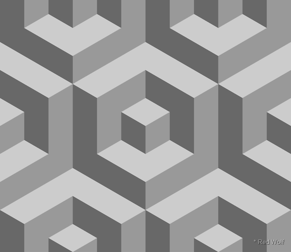 Geometric Pattern: Cube Inset: Monochrome by * Red Wolf