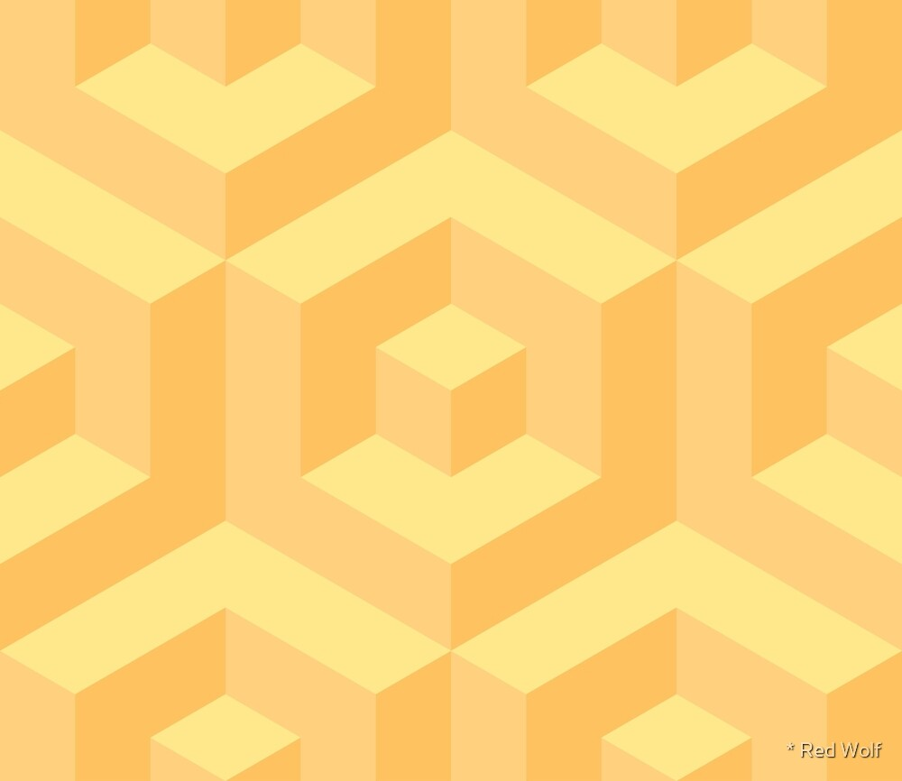 Geometric Pattern: Cube Inset: Yellow by * Red Wolf