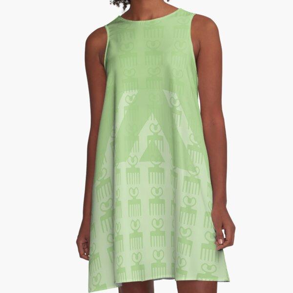 Duafe - Wooden Comb - Adinkra symbol light green  touch A-Line Dress