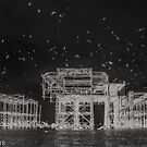 Night flight over the pier by wigs