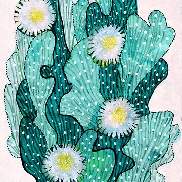 Blooming Cactus, turquoise by clipsocallipso