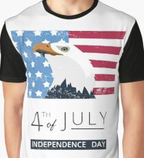 4th of July American Eagle & Flag Graphic T-Shirt