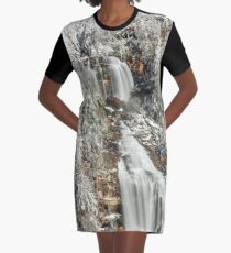 Whitewater Falls in White Graphic T-Shirt Dress