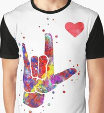 I love you ASL sign language, watercolor sign language,  I love you American Sign Language Graphic T-Shirt