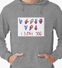 I love you ASL sign language, watercolor sign language,  I love you American Sign Language Lightweight Hoodie
