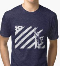 Statue of Liberty & US American Flag Tri-blend T-Shirt