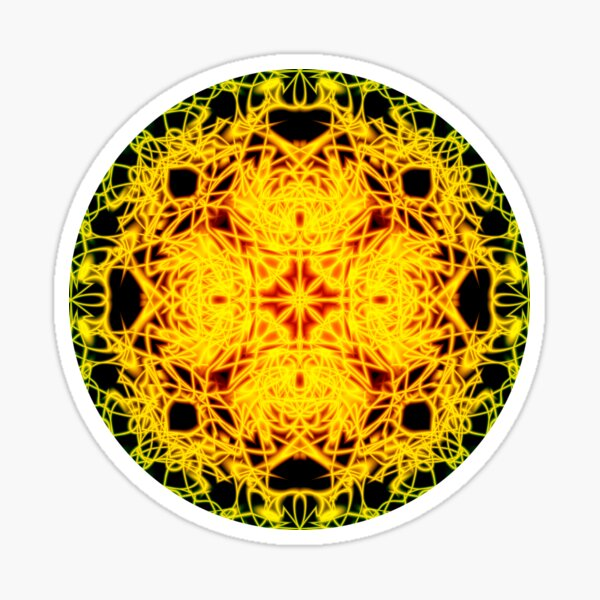 """93. """"Spirit of India: Cross-Column - Circle"""" in grass green and yellow Sticker"""